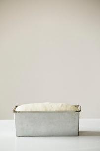 Bread dough in a metal baking tin.の写真素材 [FYI02858524]