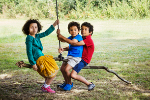 Two boys and a girl sitting on a tree swing.の写真素材 [FYI02858557]