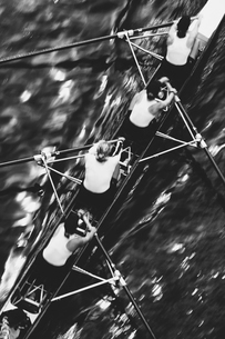 Overhead view of a female rowing crew in their racing shell, rowing boat.の写真素材 [FYI02858559]