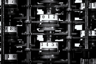 The interior structure of the Difference Engine at the Computer History Museum, Mountain View, Califの写真素材 [FYI02858690]