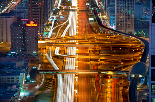 Aerial view of illuminated Sheikh Zayed Road in central Dubai, United Arab Emirates.の写真素材 [FYI02858743]