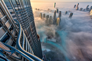 Aerial view of cityscape with skyscrapers above the clouds in Dubai, United Arab Emirates.の写真素材 [FYI02858751]
