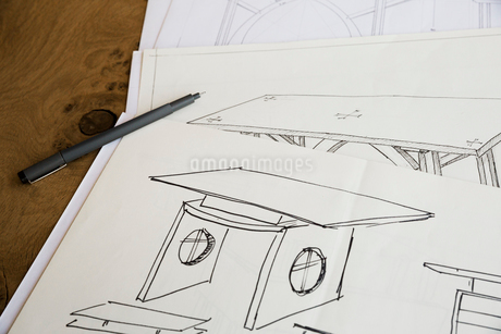 Close up of design drawings for furniture, a table.の写真素材 [FYI02858883]