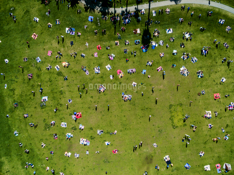 Overhead view of people in a city park  on a summer day, sitting, standing, on picnic rugs.の写真素材 [FYI02859016]