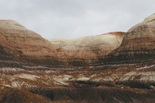 Elevated view of the Painted Desert rock formations in the Petrified Forest National Parkの写真素材 [FYI02859290]