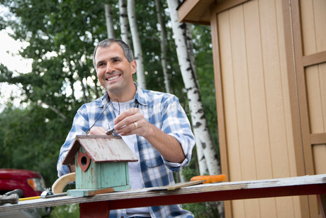handsome middle-aged man repairing birdhouseの写真素材 [FYI02859457]
