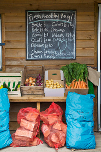 Handwritten blackboard on wall and crates with fresh vegetables and stack of firewood in red net bagの写真素材 [FYI02859809]