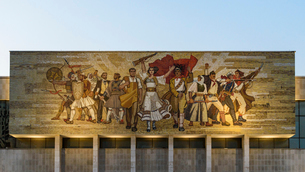 Mural above the entrance at the National History Museum of Albania, by a collective of five Albanianの写真素材 [FYI02859833]