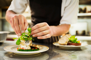 Close up of chef in kitchen adding salad garnish to a plate with grilled fish.の写真素材 [FYI02859915]