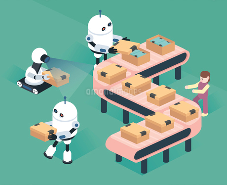 Robots packing boxes on conveyor in factoryのイラスト素材 [FYI02860563]