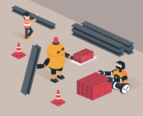 Robots working at construction siteのイラスト素材 [FYI02860652]