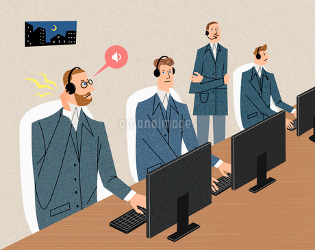 Businessmen with headphones looking at computer monitorsのイラスト素材 [FYI02860735]