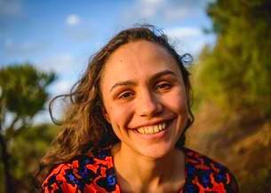 Portrait, young laughing woman, San Cristobal de Laの写真素材 [FYI02860982]