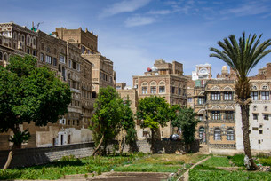 Traditional old houses in the old city of Sana'a, UNESCOの写真素材 [FYI02861006]