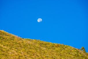 Green mountain agaist the moon on the blue skyの写真素材 [FYI02861126]