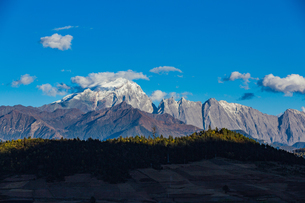 Haba Snow Mountain and forest at the Sunny day; Yunnan; Chinaの写真素材 [FYI02861131]