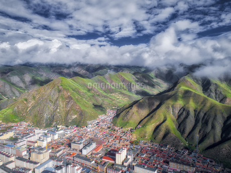 aerial photography of Xia He country,Chinaの写真素材 [FYI02861194]
