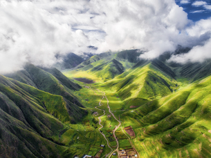 aerial photography of Xia He country,Chinaの写真素材 [FYI02861274]