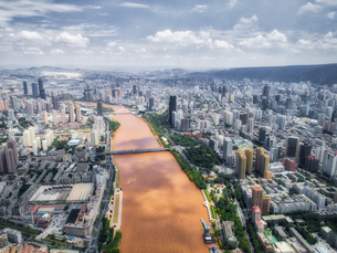 aerial photography of Lanzhou cityの写真素材 [FYI02861279]