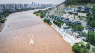 aerial photography of Lanzhou cityの写真素材 [FYI02861332]