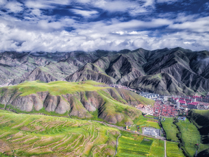 aerial photography of Xia He country,Chinaの写真素材 [FYI02861356]
