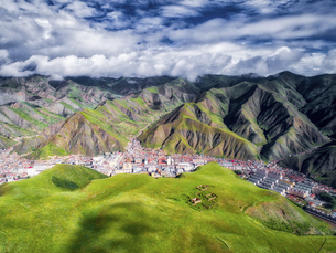 aerial photography of Xia He country,Chinaの写真素材 [FYI02861386]