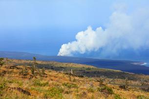 ハワイ島 キラウエア火山チェーン・オブ・クレーターズ・ロードからのオーシャンエントリーの噴煙の写真素材 [FYI02861451]