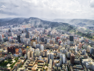 aerial photography of Lanzhou cityの写真素材 [FYI02861453]