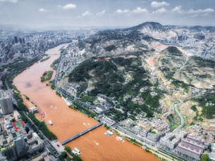 aerial photography of Lanzhou cityの写真素材 [FYI02861457]