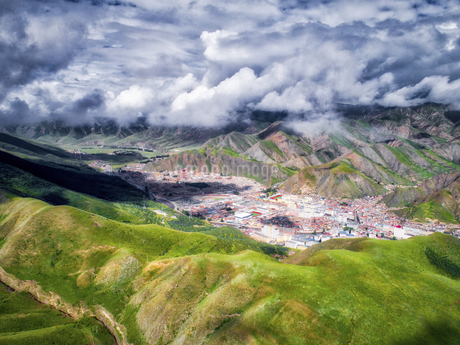 aerial photography of Xia He country,Chinaの写真素材 [FYI02861466]