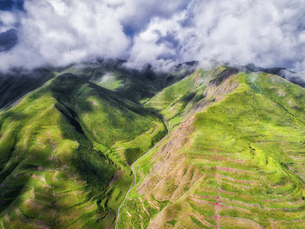 aerial photography of Xia He country,Chinaの写真素材 [FYI02861479]