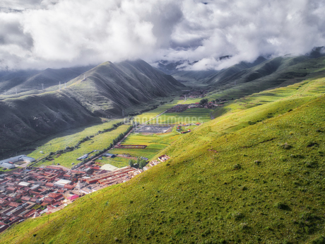 aerial photography of Xia he country,Chinaの写真素材 [FYI02861497]