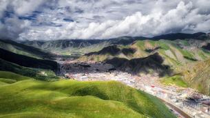 aerial photography of Xia he xian,Chinaの写真素材 [FYI02861516]