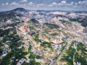 aerial photography of Lanzhou cityの写真素材 [FYI02861608]
