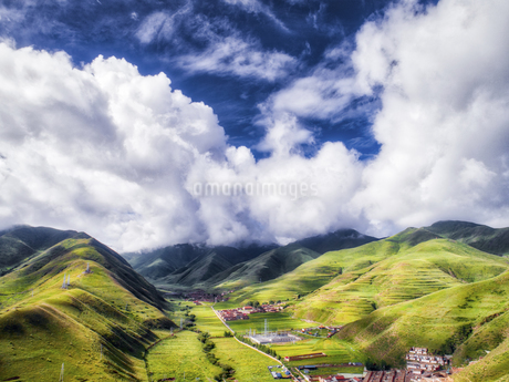 aerial photography of Xia He country,Chinaの写真素材 [FYI02861618]