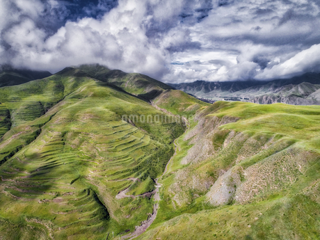 aerial photography of Xia He country,Chinaの写真素材 [FYI02861714]