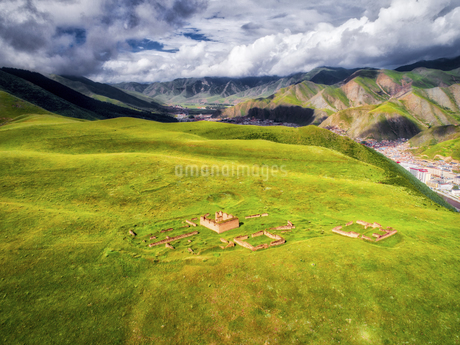 aerial photography of Xia He country,Chinaの写真素材 [FYI02861764]
