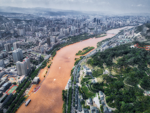 aerial photography of Lanzhou cityの写真素材 [FYI02861810]