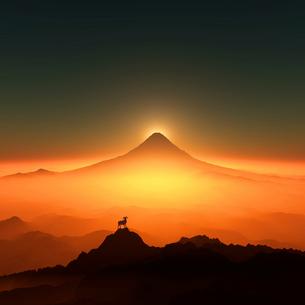 富士山と羊のイラスト素材 [FYI02866392]