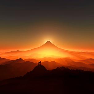 富士山と羊のイラスト素材 [FYI02866478]