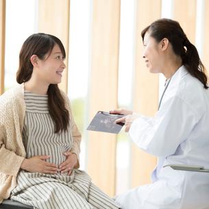 エコー写真を持ち話をする女医と妊婦の写真素材 [FYI02872505]