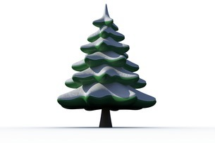 Digitally generated snowy Fir treeのイラスト素材 [FYI02877916]