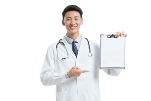 Cheerful young Chinese doctor with medical recordの写真素材 [FYI02877980]