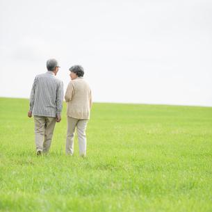 草原を歩くシニア夫婦の後姿の写真素材 [FYI02887360]