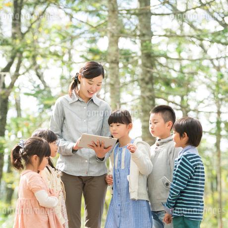 課外学習をする小学生と先生の写真素材 [FYI02887365]