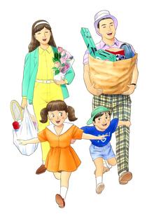 買い物帰りの家族のイラスト素材 [FYI02893764]