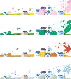 四季の街並みのセットのイラスト素材 [FYI02895937]
