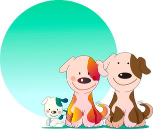 仲良し親子の犬の告知板のイラスト素材 [FYI02895940]