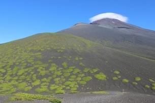 《富士山》二ツ塚下塚より宝永山、笠雲かかる頂上を見る2の写真素材 [FYI02912831]