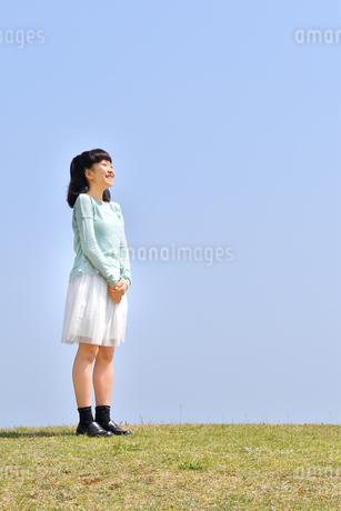 青空で見上げる女の子(芝生広場)の写真素材 [FYI02917305]